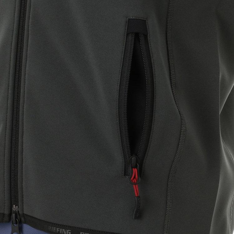 フロントやポケットのジップに配したオリジナルデザインの引き手紐。