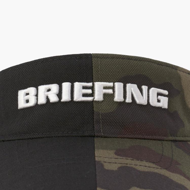 センターで切り替えた配色デザイン。さらにBRIEFINGロゴの刺繍を配した存在感ある佇まい。