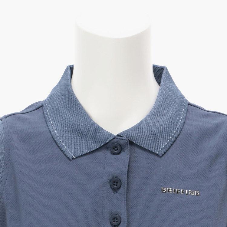 襟にあしらった配色のステッチ、胸元のBRIEFINGメタリックロゴがさりげないアクセントに。