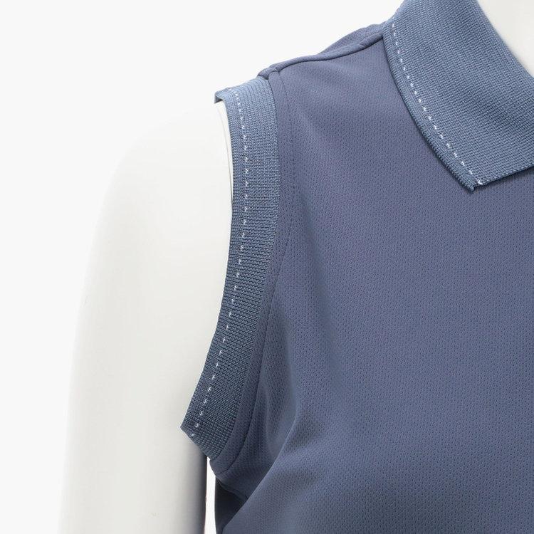 袖ぐり部分に配した配色のステッチ。