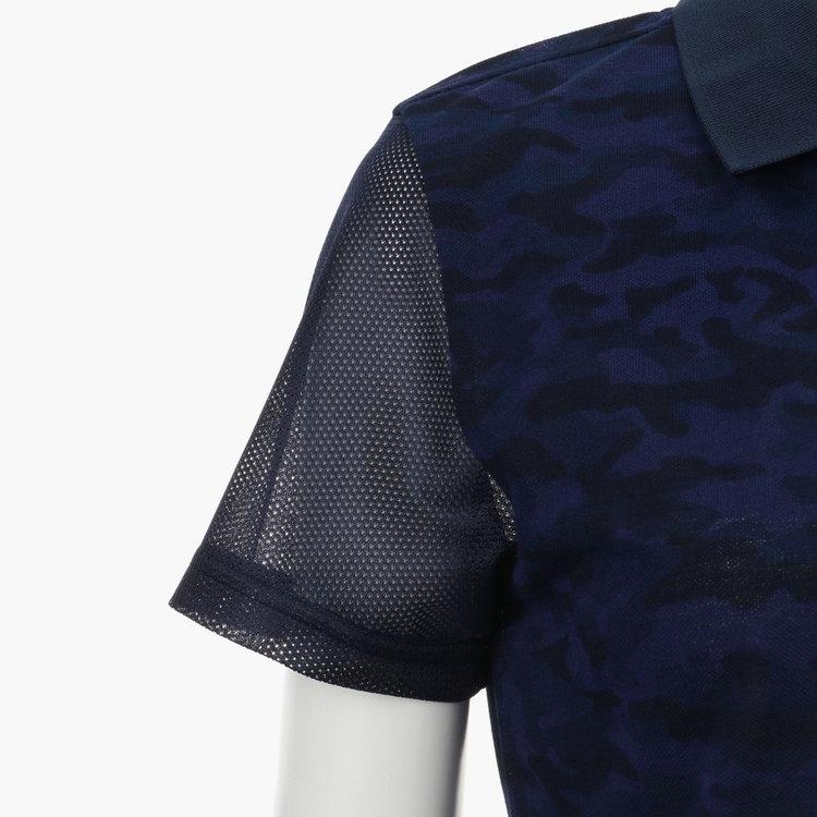 袖は透け感のあるメッシュ地で切り替え、女性らしい雰囲気を演出。